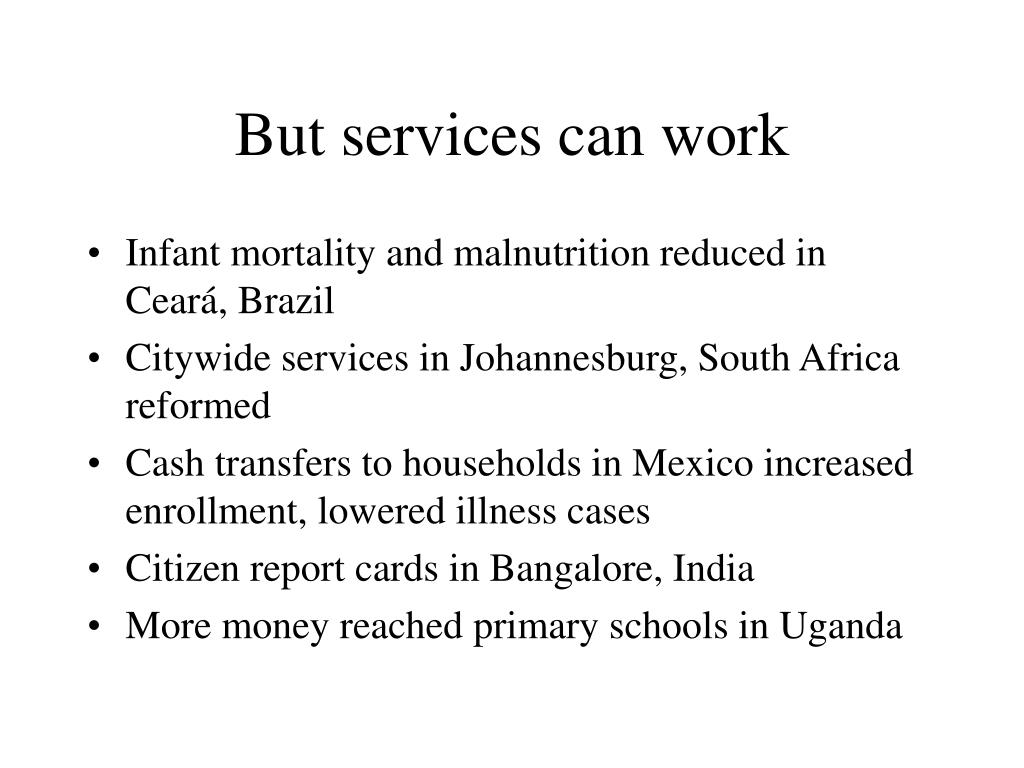 But services can work