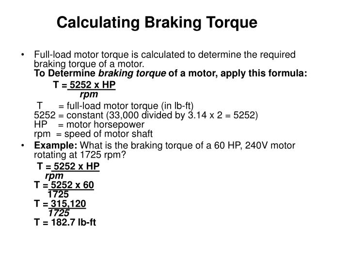 Calculating Braking Torque