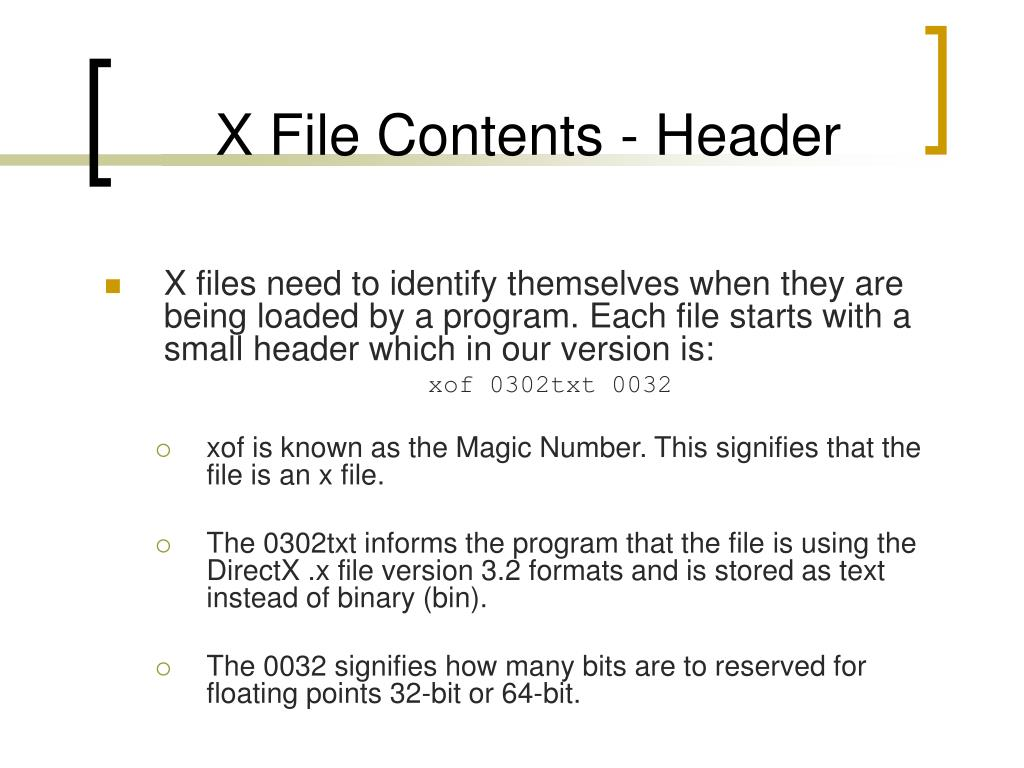 X File Contents - Header