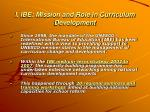 i ibe mission and role in curriculum development