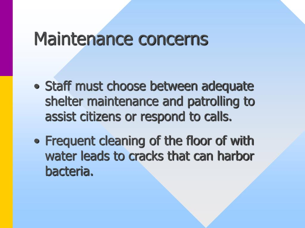 Maintenance concerns
