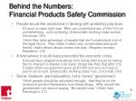 behind the numbers financial products safety commission