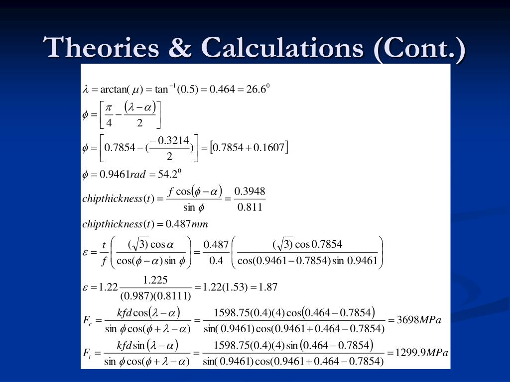 Theories & Calculations (Cont.)