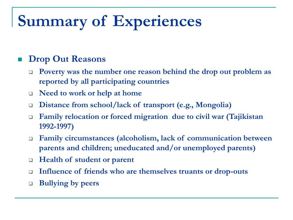 Summary of Experiences