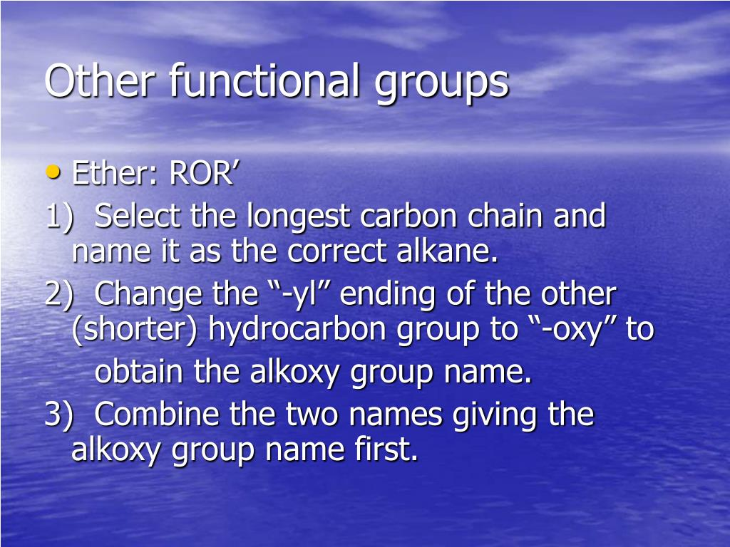 Other functional groups