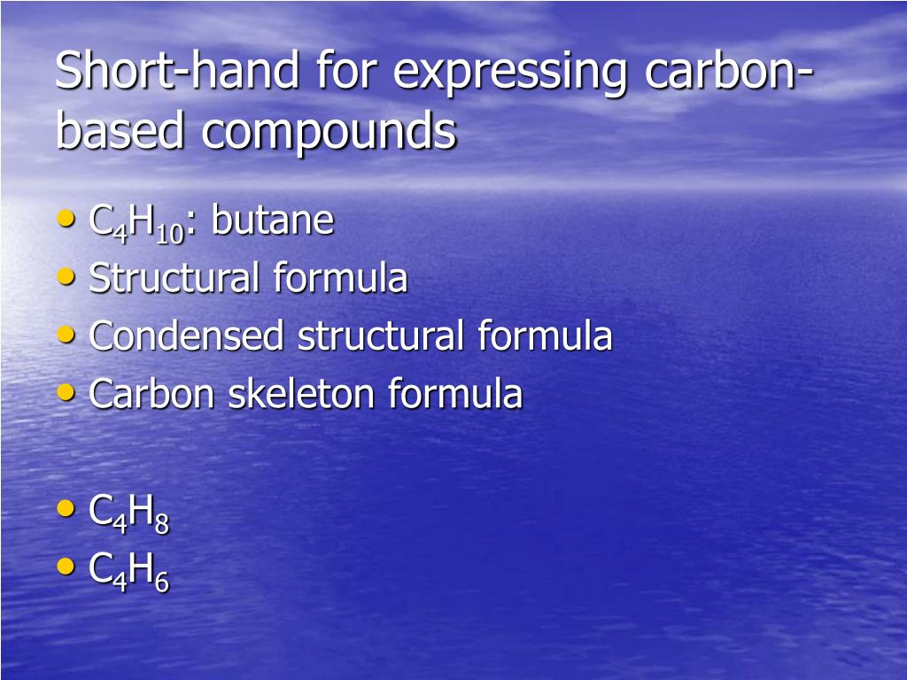 Short-hand for expressing carbon-based compounds