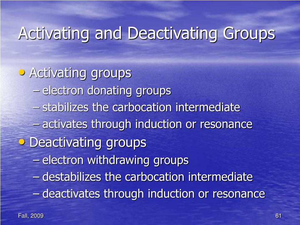Activating and Deactivating Groups