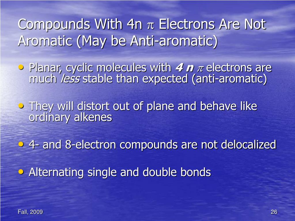 Compounds With 4n  Electrons Are Not Aromatic (May be Anti-aromatic)