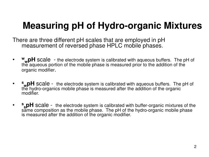 Measuring ph of hydro organic mixtures