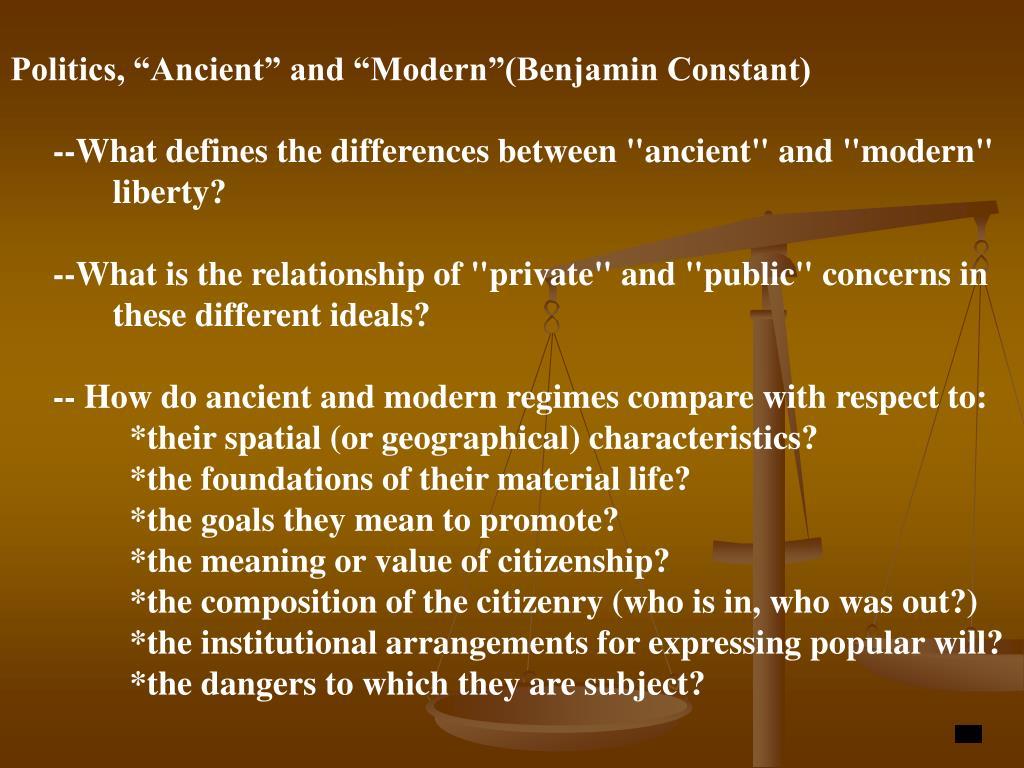 "Politics, ""Ancient"" and ""Modern""(Benjamin Constant)"