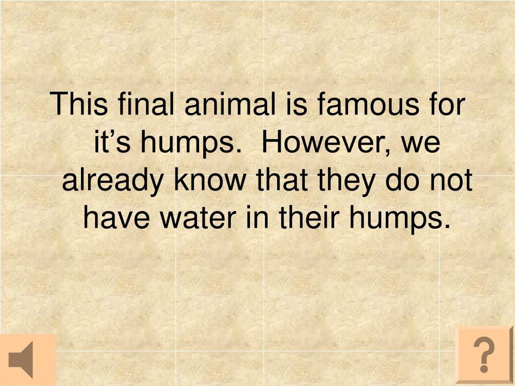 This final animal is famous for it's humps.  However, we already know that they do not have water in their humps.