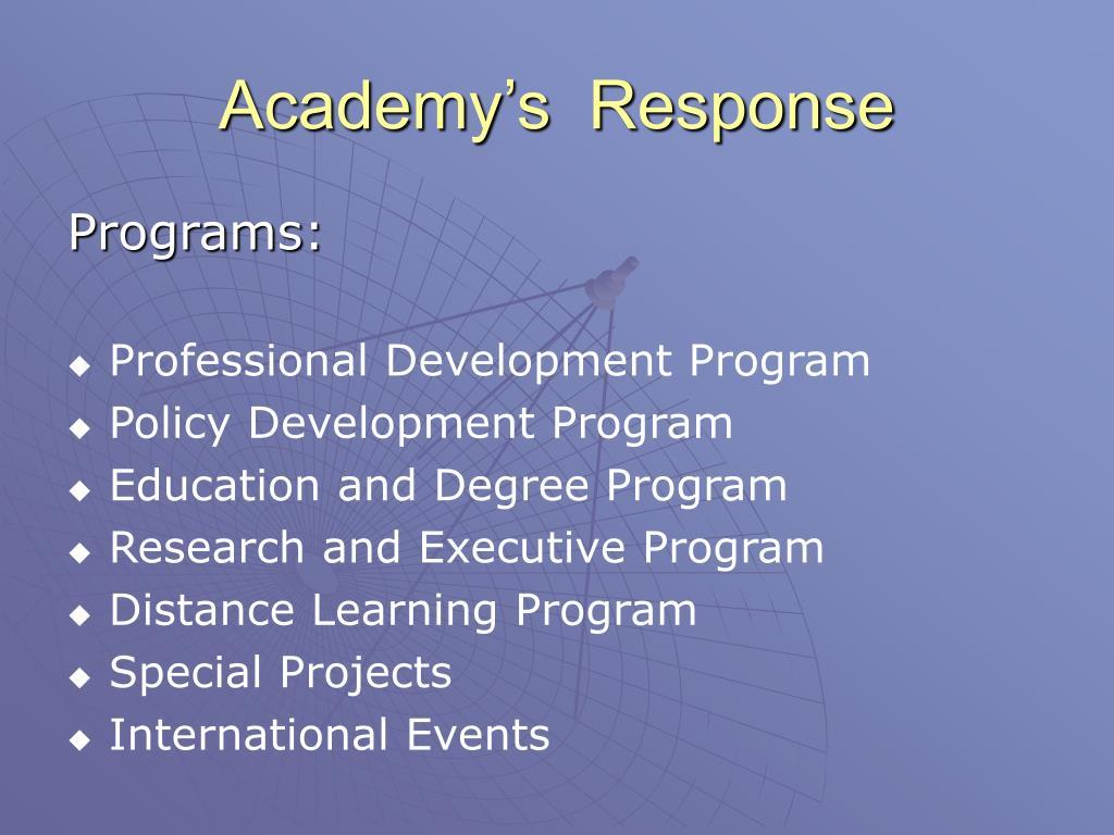 Academy's  Response