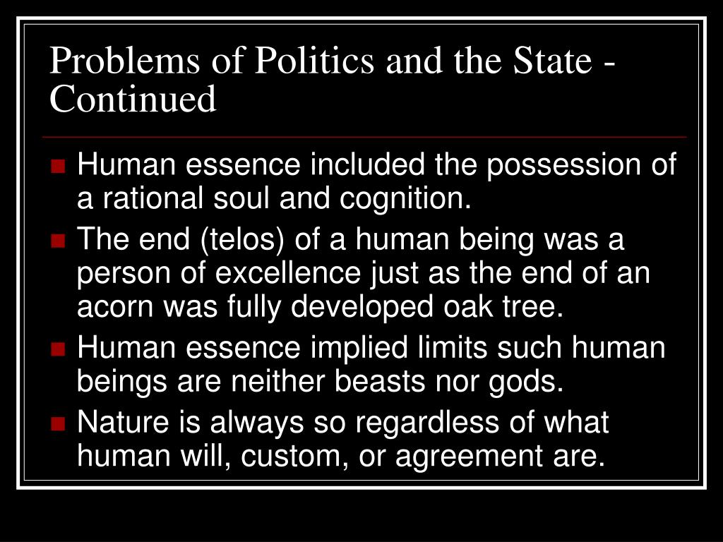 Problems of Politics and the State - Continued