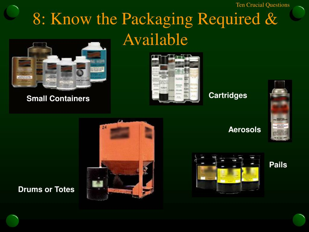 8: Know the Packaging Required & Available