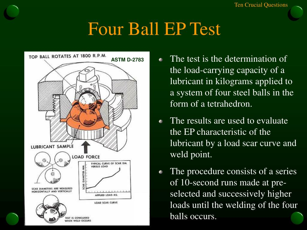 The test is the determination of the load-carrying capacity of a lubricant in kilograms applied to a system of four steel balls in the form of a tetrahedron.