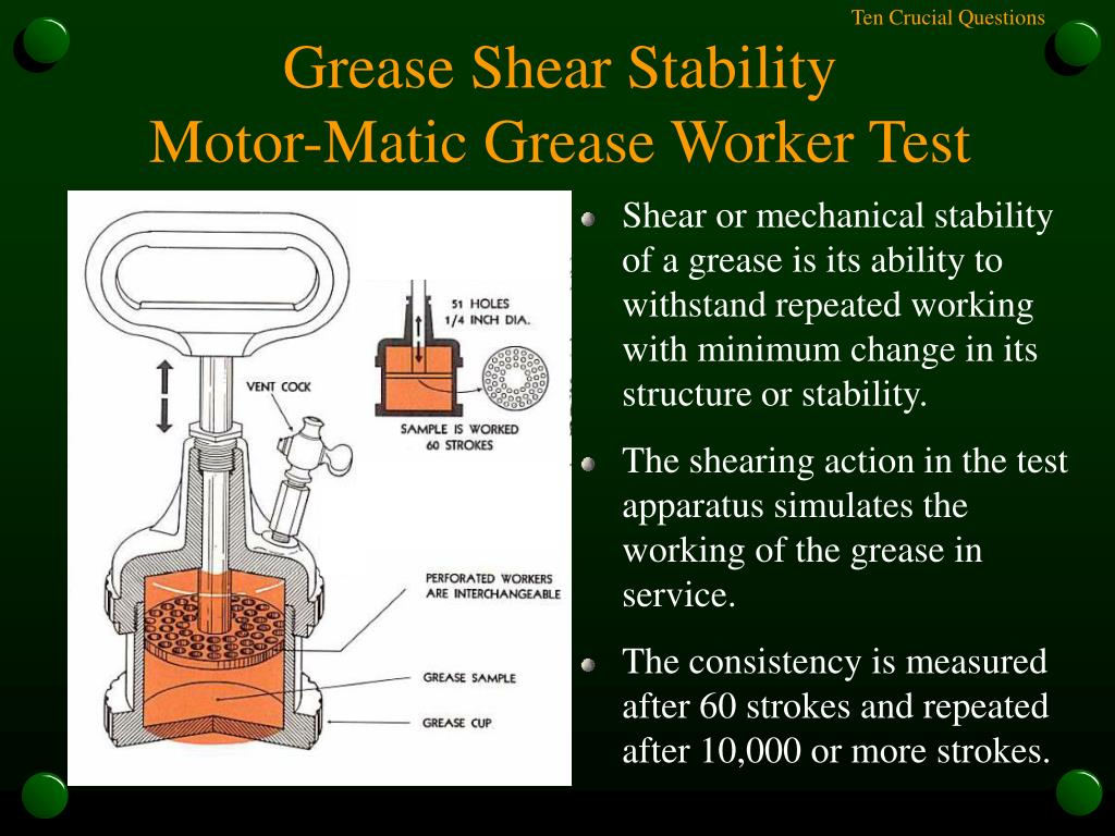 Shear or mechanical stability of a grease is its ability to withstand repeated working with minimum change in its structure or stability.
