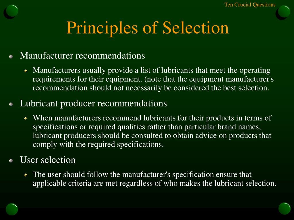 Principles of Selection