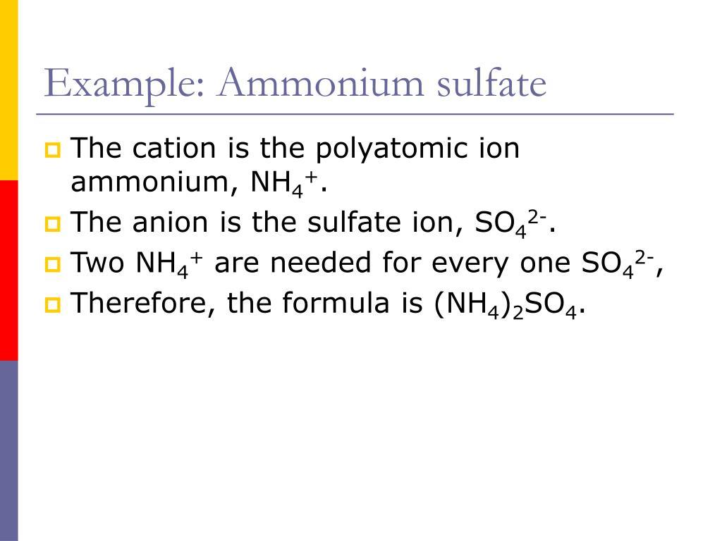 Example: Ammonium sulfate