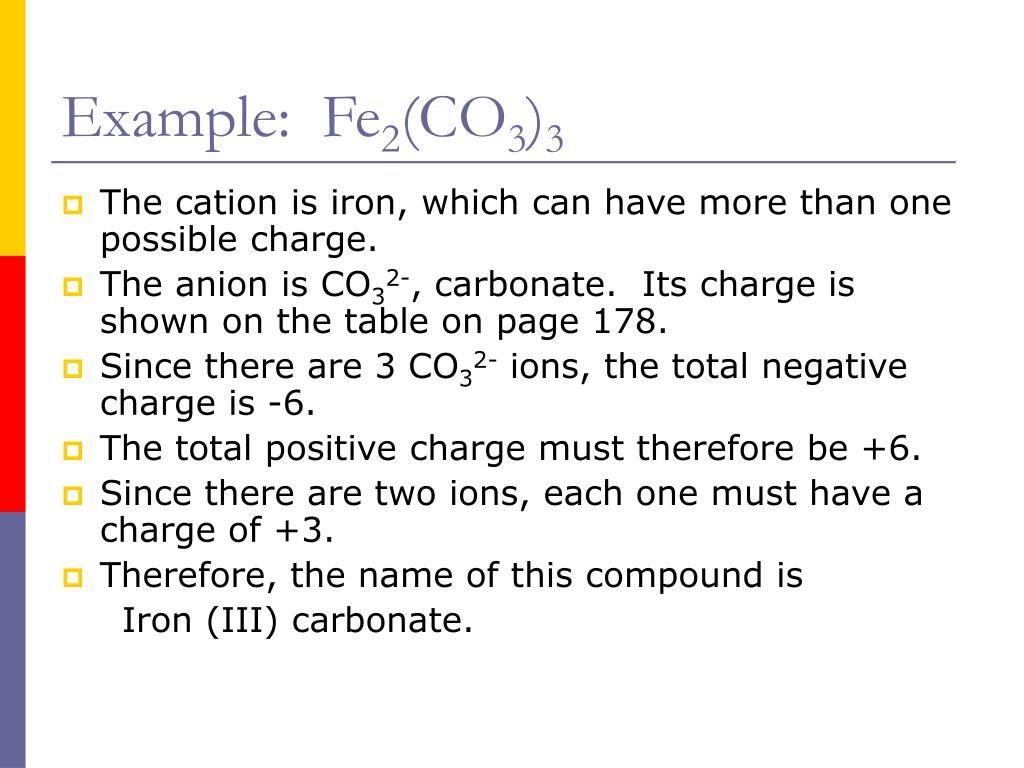 Example:  Fe