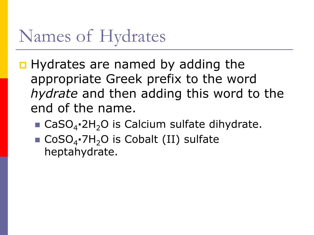 Names of Hydrates