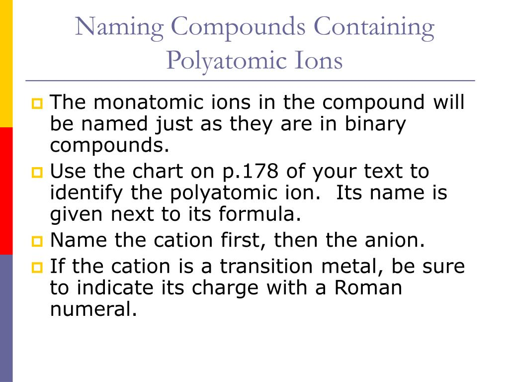 Naming Compounds Containing Polyatomic Ions