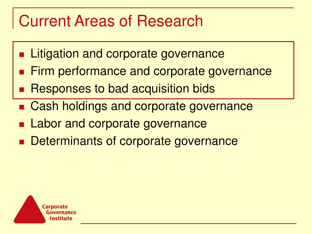 Current Areas of Research