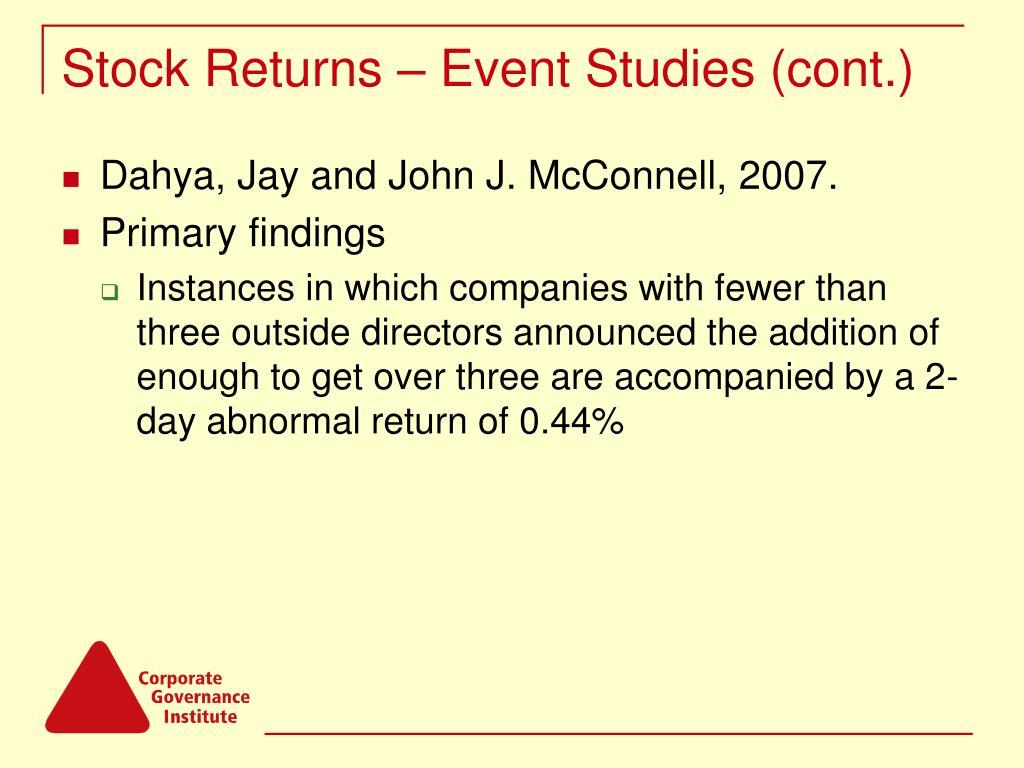 Stock Returns – Event Studies (cont.)