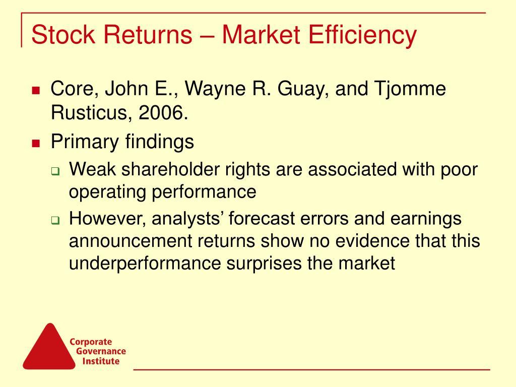 Stock Returns – Market Efficiency