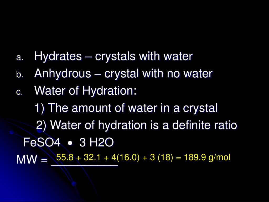 Hydrates – crystals with water