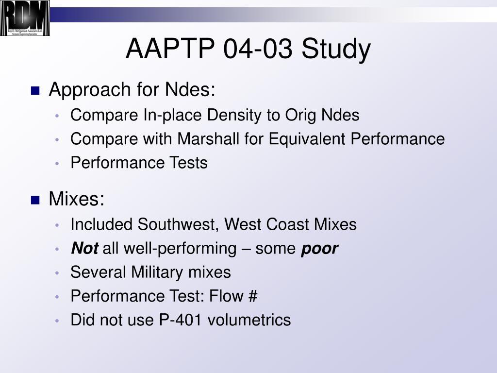 AAPTP 04-03 Study