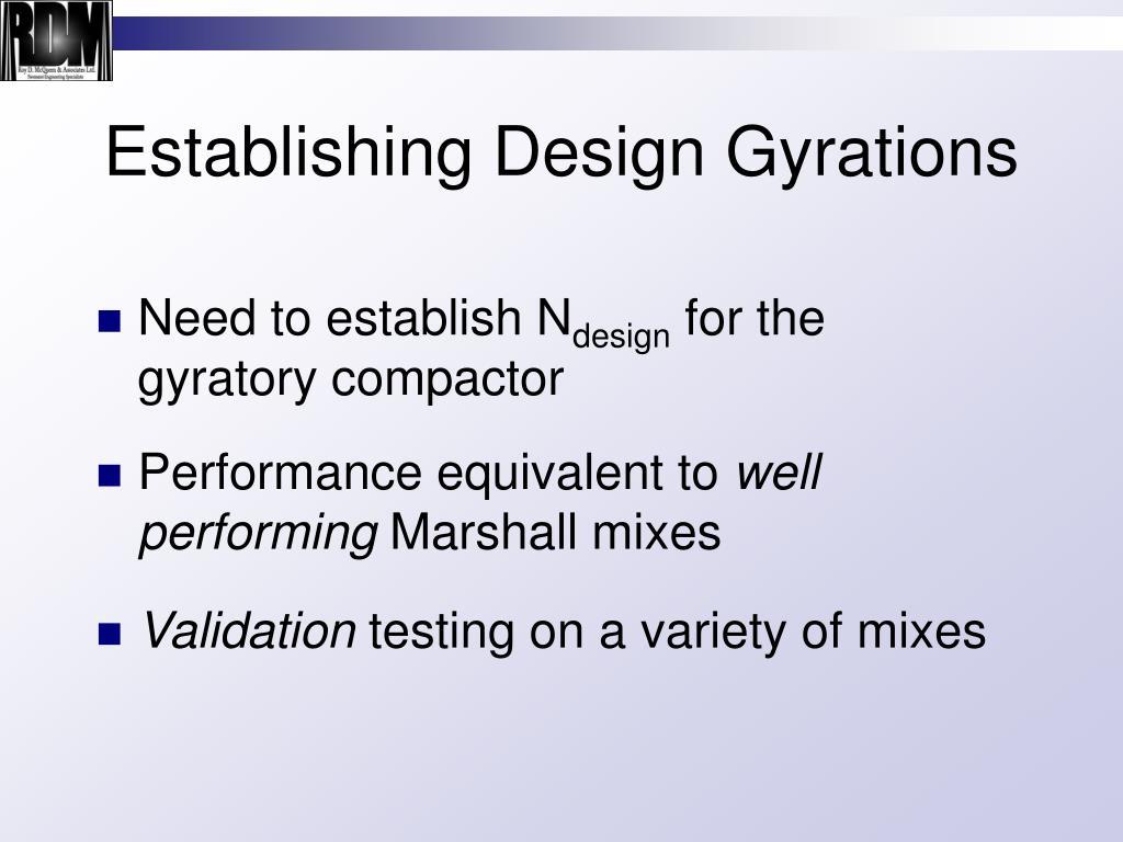 Establishing Design Gyrations