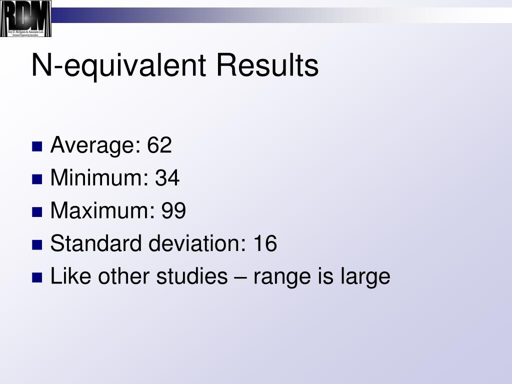 N-equivalent Results