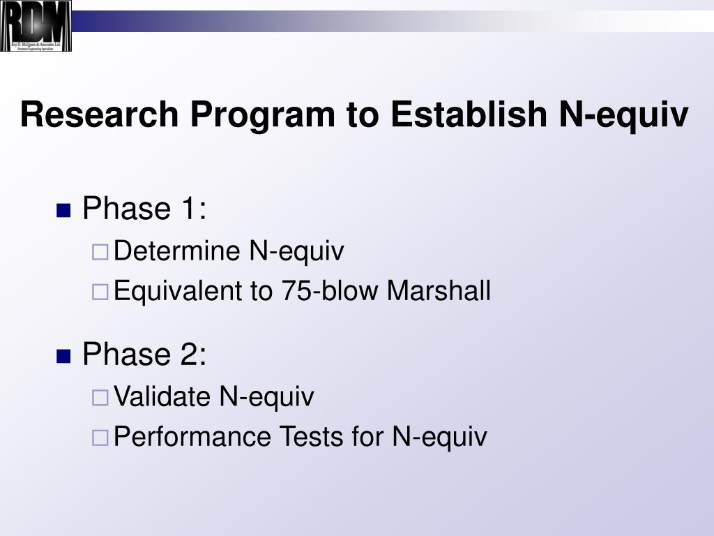 Research Program to Establish N-equiv