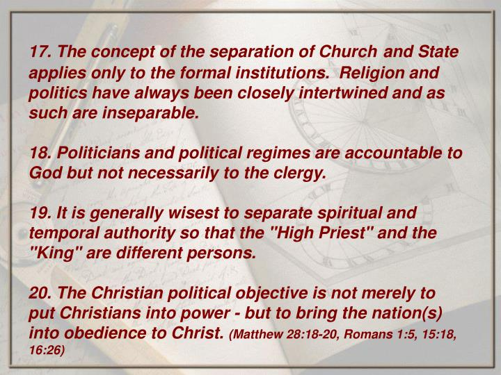 17. The concept of the separation of Church