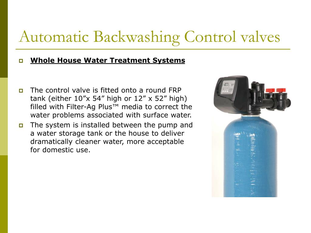 Automatic Backwashing Control valves