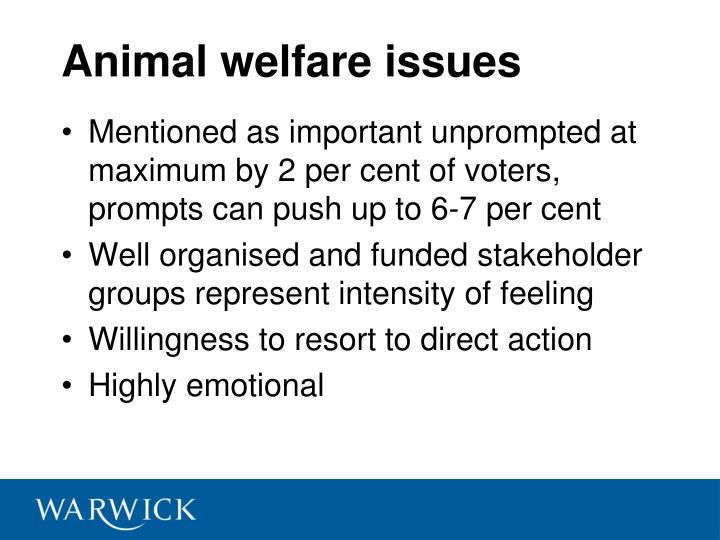 Animal welfare issues