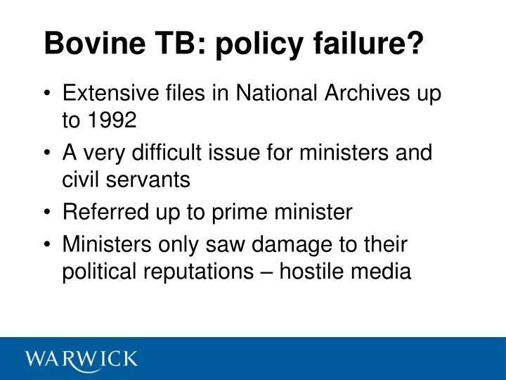 Bovine tb policy failure
