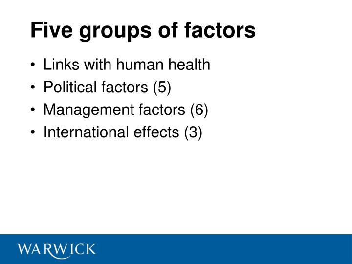 Five groups of factors
