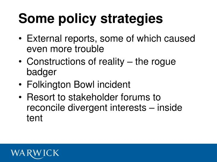 Some policy strategies
