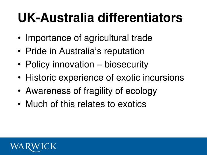 UK-Australia differentiators
