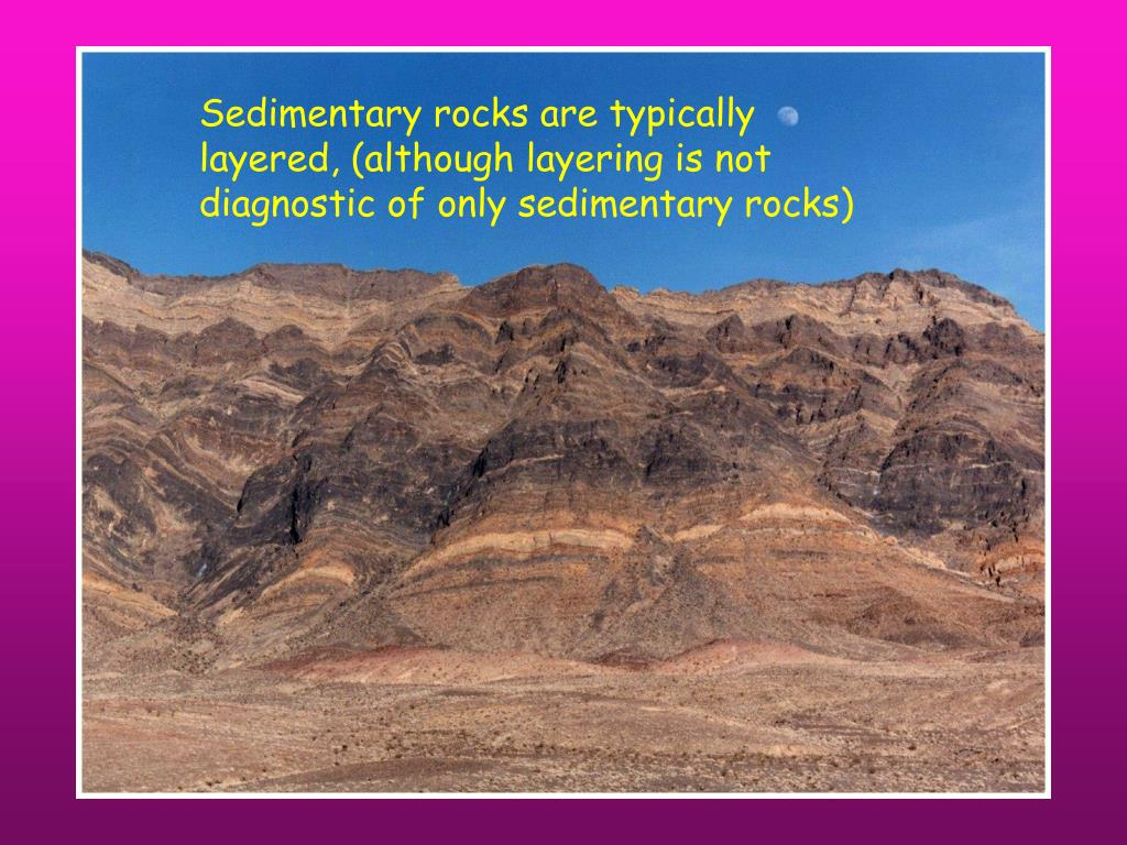 Sedimentary rocks are typically layered, (although layering is not diagnostic of only sedimentary rocks)
