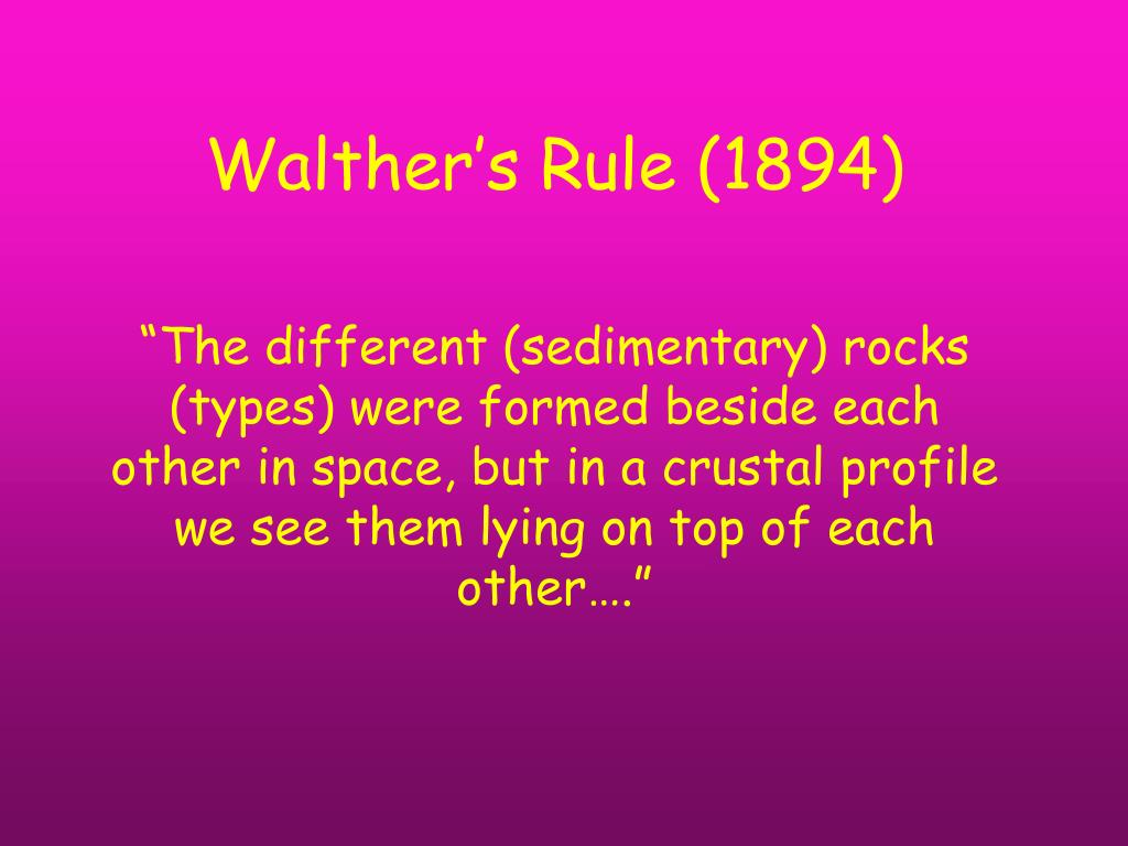 Walther's Rule (1894)