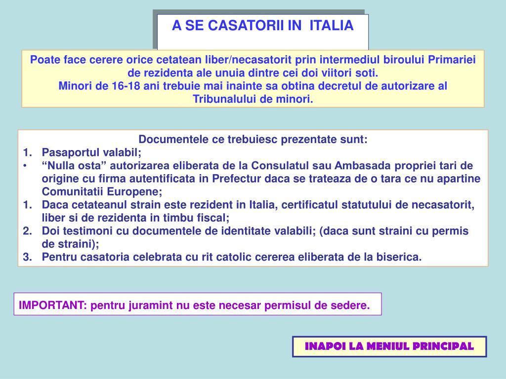A SE CASATORII IN  ITALIA