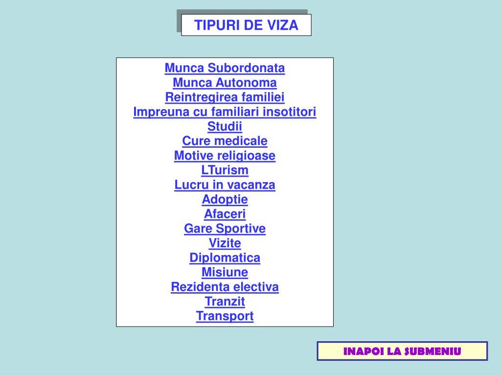 TIPURI DE VIZA