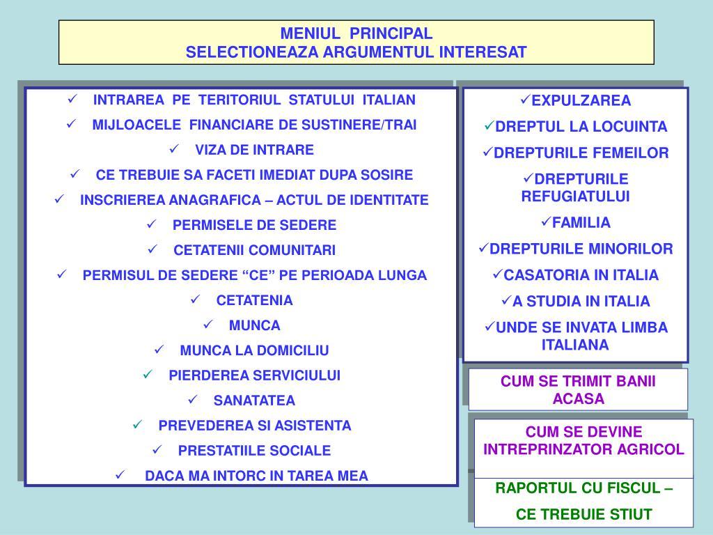 MENIUL  PRINCIPAL