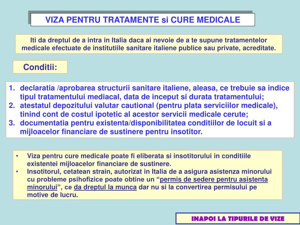 VIZA PENTRU TRATAMENTE si CURE MEDICALE
