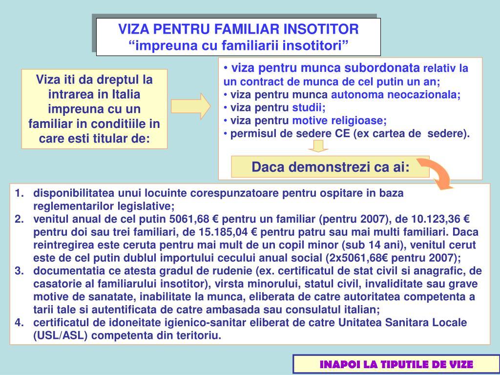 VIZA PENTRU FAMILIAR INSOTITOR