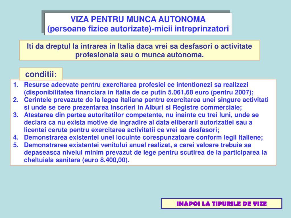 VIZA PENTRU MUNCA AUTONOMA