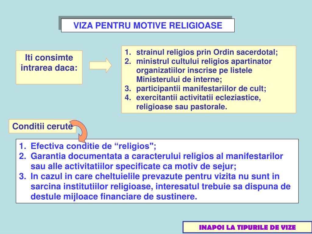 VIZA PENTRU MOTIVE RELIGIOASE
