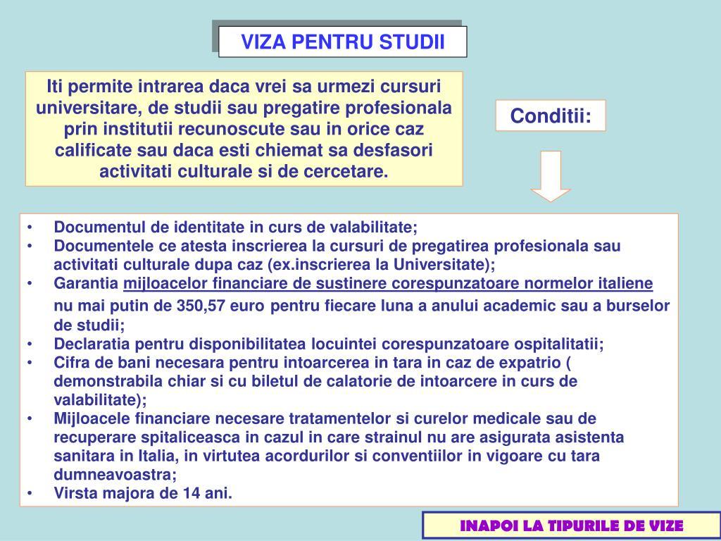 VIZA PENTRU STUDII